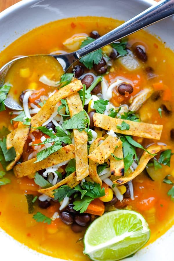 Healthy  Chicken Tortilla Soup Recipe