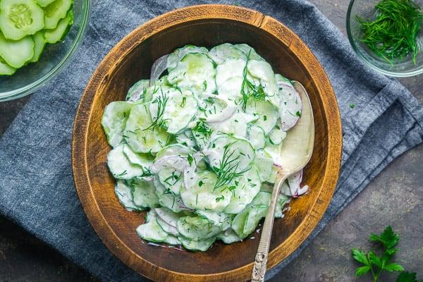 Healthy Creamy Cucumber Salad Recipe