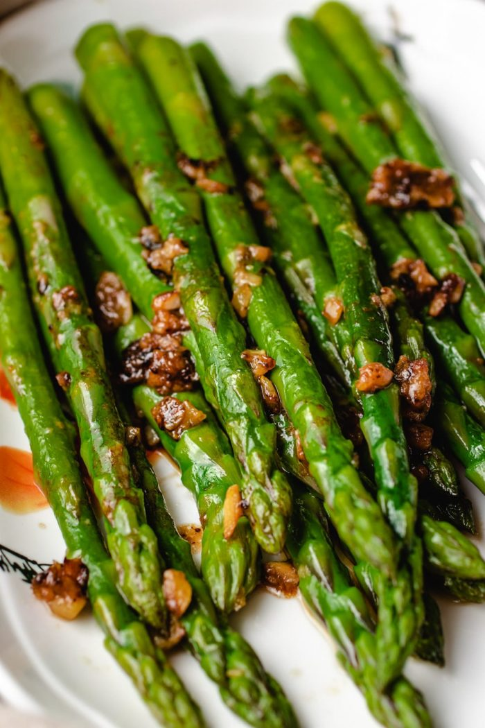 Healthy Sauteed Asparagus With Chickpea Miso Butter Sauce Recipe