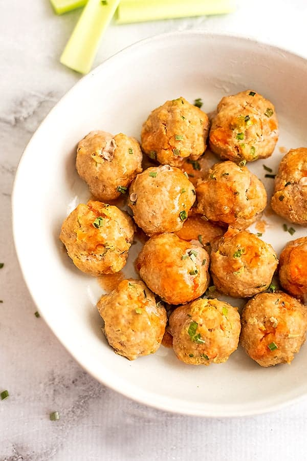 Healthy Buffalo Turkey Meatballs Recipe