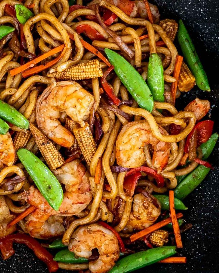 Healthy Black Pepper Udon Noodles With Shrimp Recipe