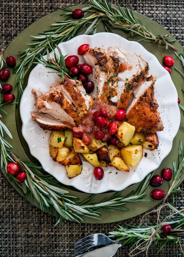 Healthy Roast Turkey Breast with Saucy Cranberry Sauce Recipe
